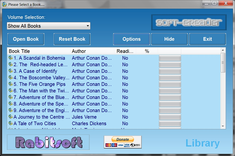 Soft-eReader v1.4 from RabitSoft, with Free Book Collections